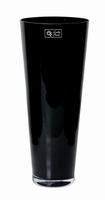 Konische glas vaas zwart glas met een hoogte van 43 cm