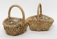 Handlebasket oval rope natural