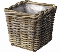 Rotan planter vierkant antique grey 18 cm