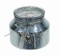 Candleholder van glas Darla metallic blue
