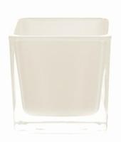 Accubak van gekleurd glas wit heavy glas 12 cm