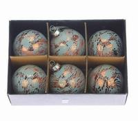 Kerstballen koper blauw 6 cm