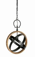 Hanglamp Denver wood round lamp width iron PTMD