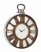 Tick Mango clock round wood carved with stainless PTMD