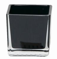 Accubak van gekleurd glas 10 cm in zwart en wit