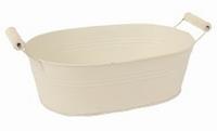Zinken schaal Nice crème met houten handvaten