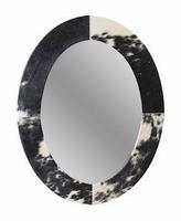 Spiegel Yeu zwart leer koeprint MAR10
