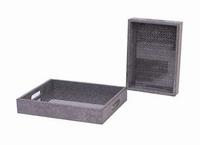 Tray Odessa metallic zilver leer MAR10