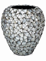 Bloempot Shell Mother of Pearl silver blue