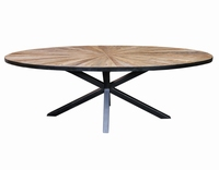 Cleme ovale Elm wood diningtable black iron base PTMD