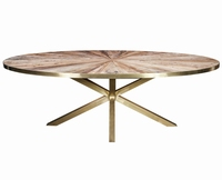 Cleme ovale Elm wood diningtable gold steel base PTMD