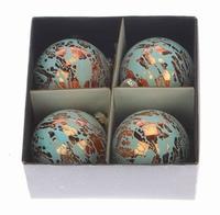 Kerstballen koper blauw 8 cm