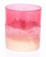 Waxinehouder van glas poeder rood goud