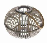 Lantaarn van grijs bambou hout met touw