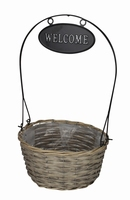 Mand rond Welcome grijs hoogte 45 cm