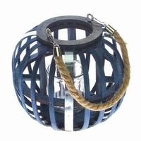 Lantaarn van blauw hout met touw