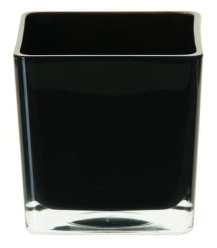 Accubak van gekleurd glas in zwart heavy glas 12 cm