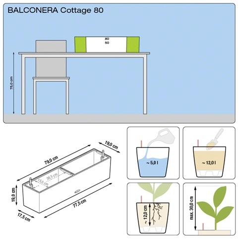 Balkonbak Lechuza Balconera Cottage 80 All-in-one set