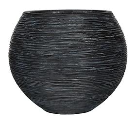Bloempot Capi Nature Rib rond zwart in 2 afmetingen