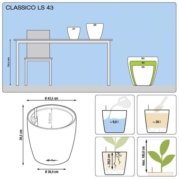 Bloempot Lechuza Classico LS 43 in meerdere kleuren