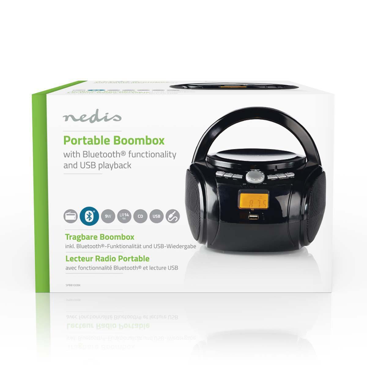 Boombox 9 W Bluetooth® CD-speler Zwart