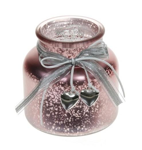 Candleholder van glas Darci metallic Red