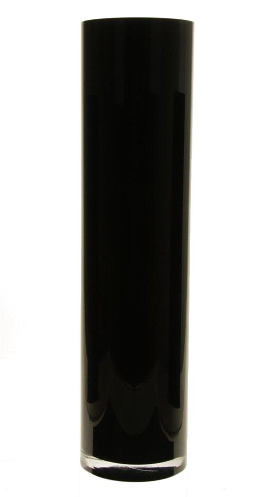 Cilinder vaas zwart glas met een hoogte van 90 cm