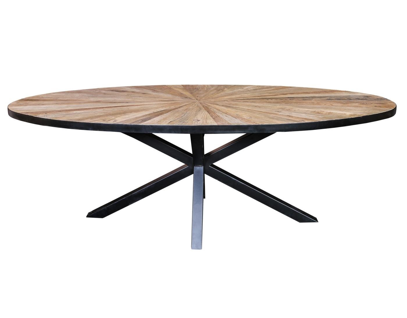 Cleme ovale Elm wood diningtable black iron base PTMD