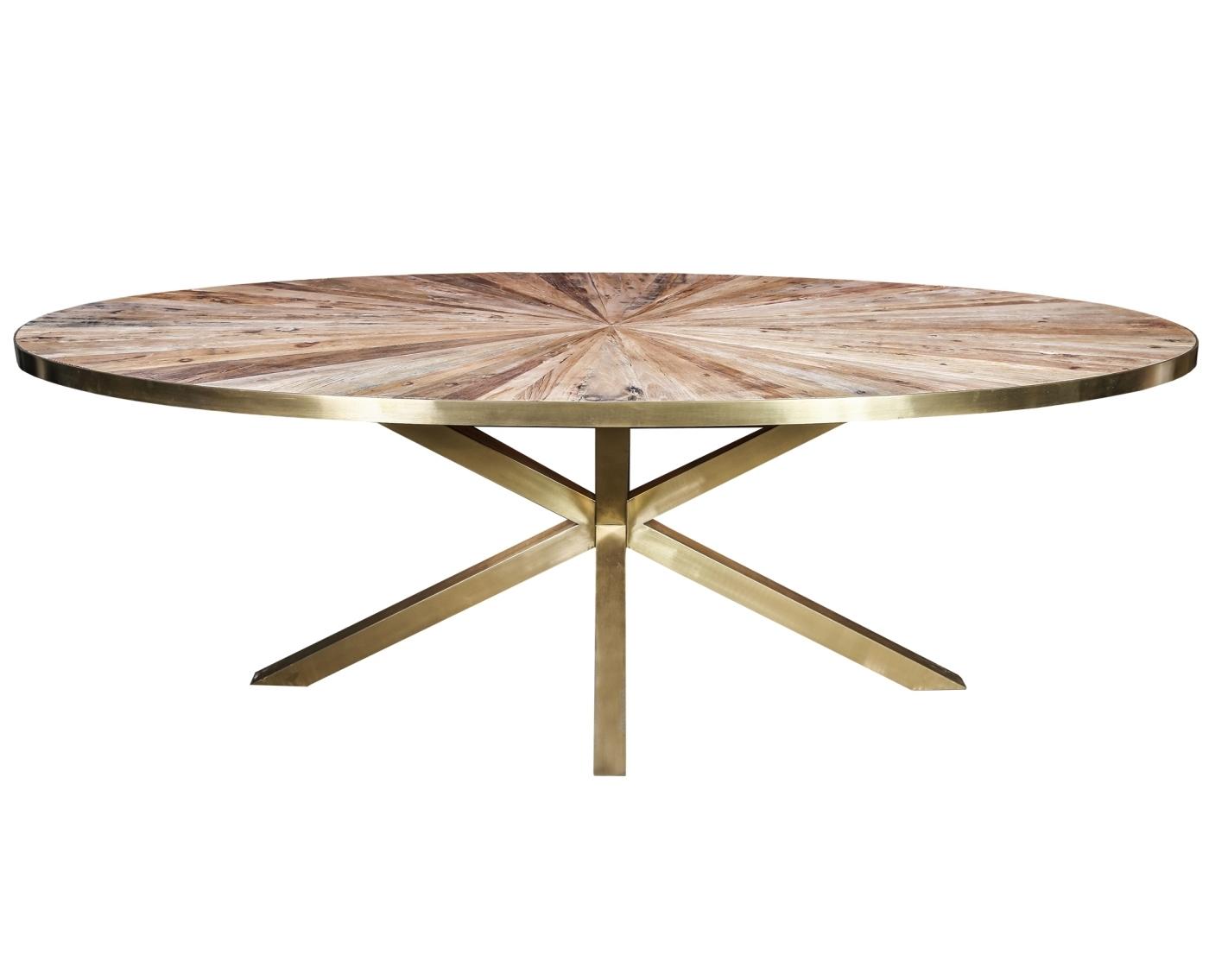 Cleme ovale Elm wood diningtable gold steel base PTMD