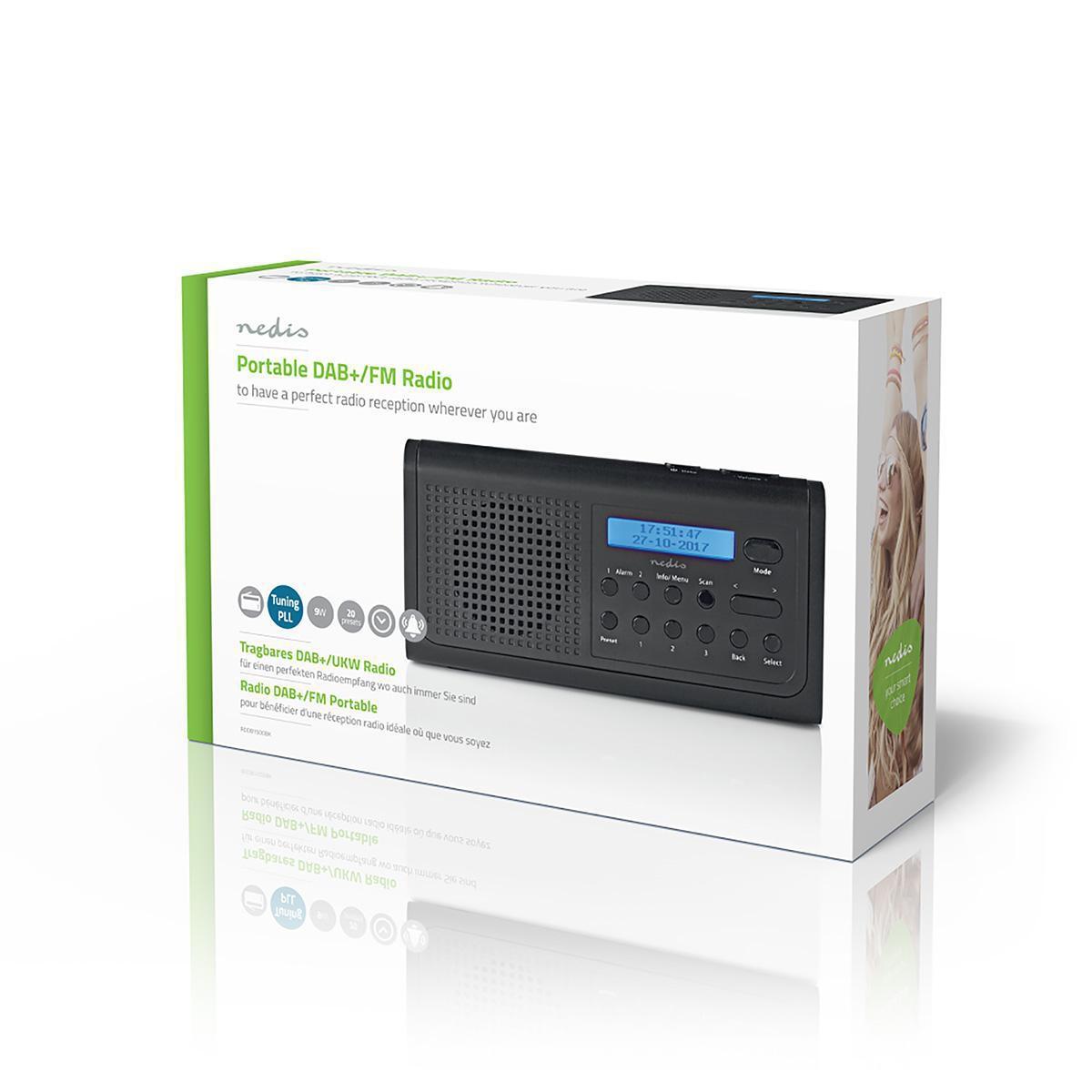 DAB+-radio 3 W FM Klok- en alarmfunctie Zwart