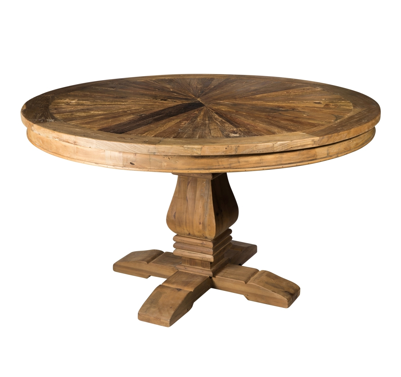 Elm Brown Wooden round dining table large PTMD