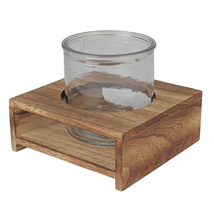 Glas in houten plateau