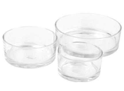 Glasschaal cilinder laag 8 cm in 3 afmetingen