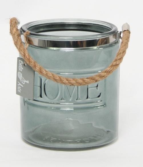Glazen pot donker blauw Home met touw