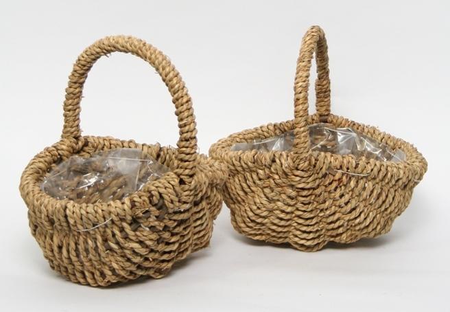 Handlebasket oval rope natural