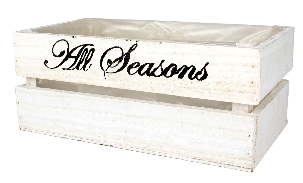 Houten krat wit met tekst All Seasons L