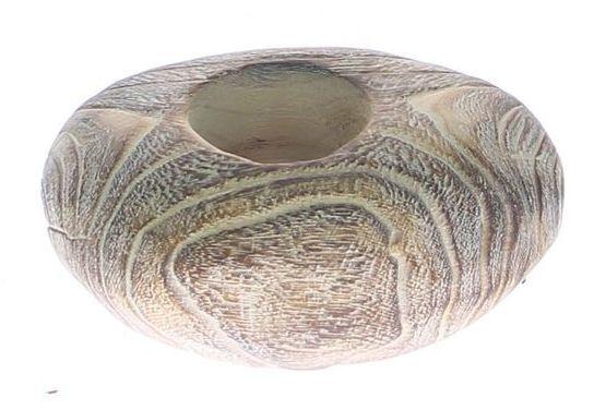Kaarsenhouder hout white wash met glas