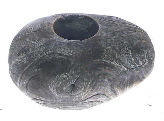 Kaarsenhouder hout zwart met glas
