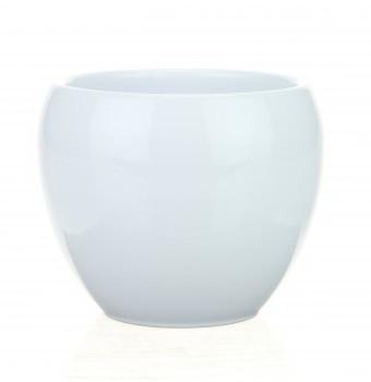 Keramieken bloempot Bowl glans wit in 3 afmetingen