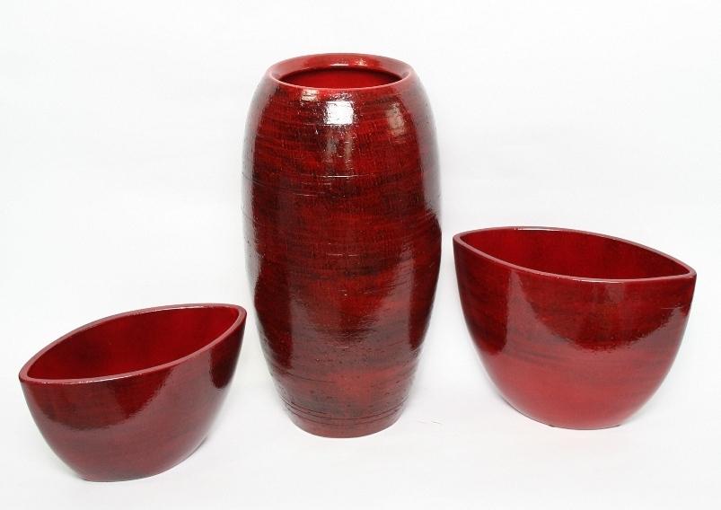 Keramieken bloempot Cresta rood in 5 afmetingen