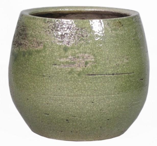 Keramieken bloempot Lynn groen 23 cm