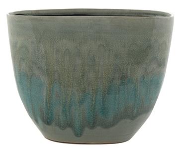 Keramieken plantenbak Lara licht blauw 29 cm