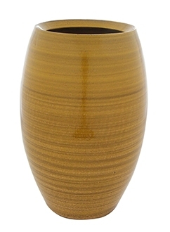 Keramieken vaas Cresta ocker geel 30 cm