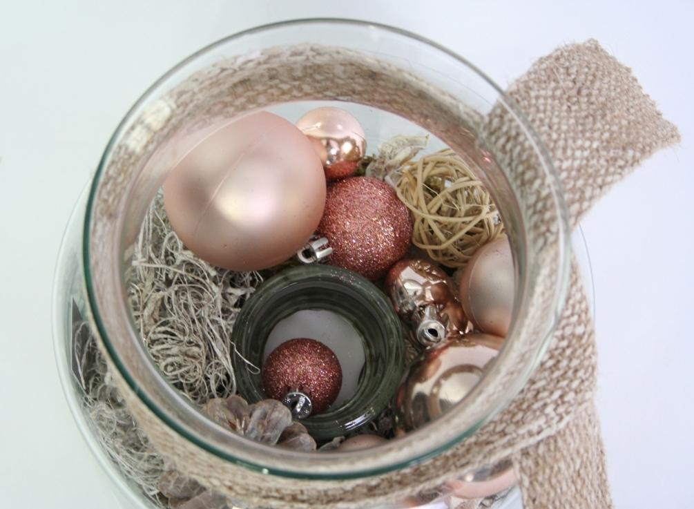 Kerst Arrangement brons in glas