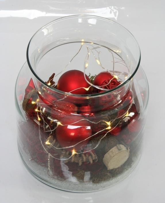 Kerst Arrangement rood met lichtjes in glas
