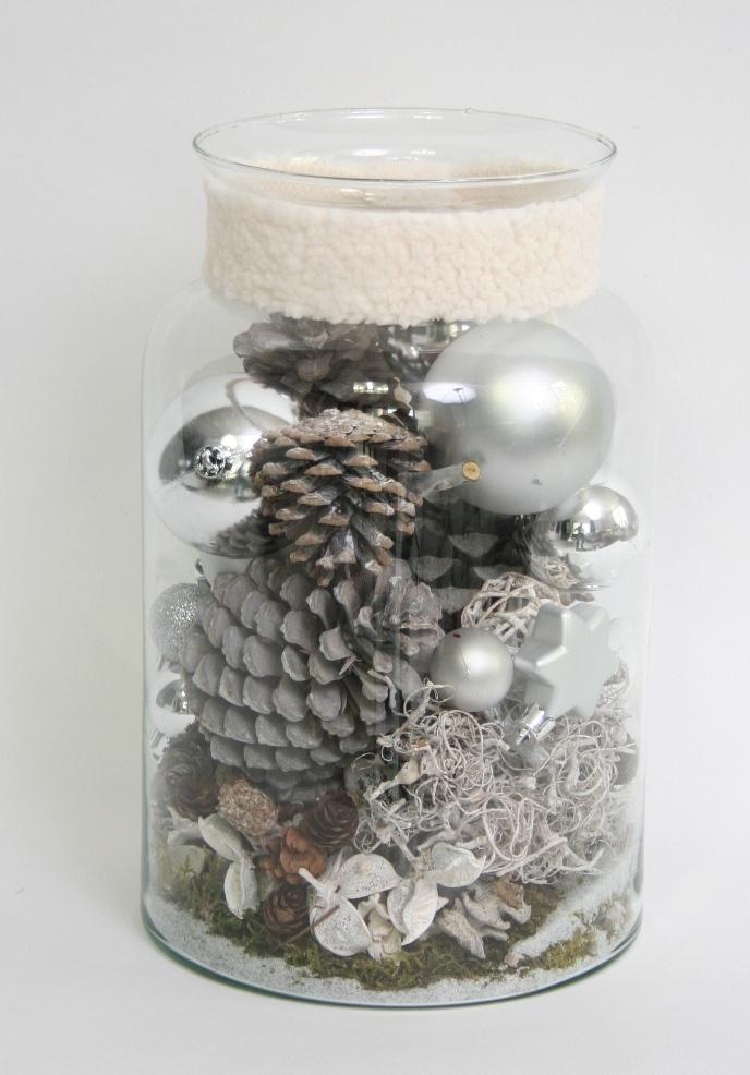 Kerst Arrangement zilver in glas