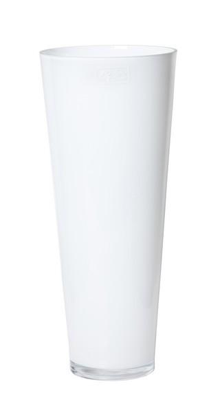Konische glas vaas wit glas met een hoogte van 43 cm
