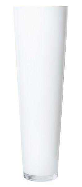 Konische glas vaas wit glas met een hoogte van 70 cm