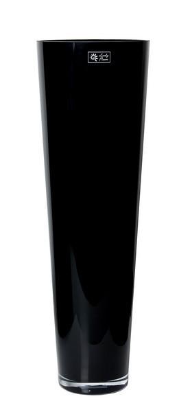 Konische glas vaas zwart glas met een hoogte van 70 cm