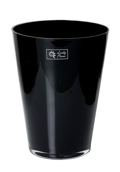 Konische glaspot in zwart en wit glas